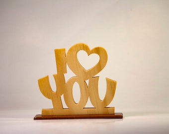 I Heart (Love) You, Word Art Desk Sign for your Valentine.