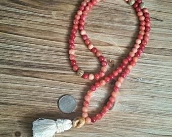 Mala, Tassel Necklace, Boho, 108 Bead, Meditation, Stone Beads, Carnelian, Soapstone, Carved Bone Skull. Yoga, Prayer Beads, Mantra, Tassels