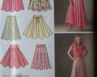 Simplicity 4188 Misses (Size K5 8 to 16) and (U5 16 to 24) skirts with length variations and belt