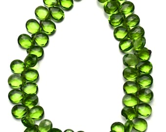"Olive Green Peridot Color Hydro Quartz Faceted 7x5MM Approx. Pear Shape Briolettes Beads 7.5"" Full Strand Super Fine Quality"