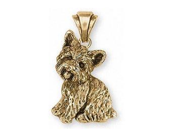 Yorkie Pendant Jewelry 14k Gold Handmade Dog Pendant YK341X-PG