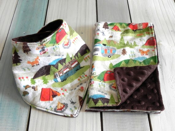 Baby Bandana Bib and Burp Cloth Set, Camping Trip, Woodland Baby Animals, Baby Shower Gift, Baby Girl or Boy Gift. Flannel and Minky