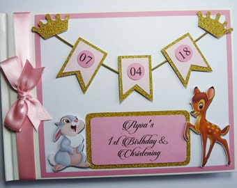 Personalised Bambi Boy - Girl - Birthday/Baby shower guest book / scrapbook - any design