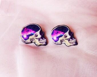 Galaxy skull earrings / skull earrings / universe earrings / space earrings / galaxy jewelry / skull jewelry / nebula earrings