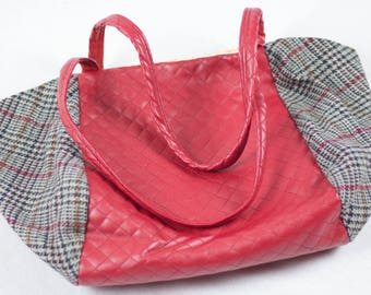 GL Crafts: Handbag, Red, Chequered, Wool, Leather, Handmade