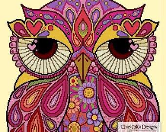 Zen Owl 002 SUMMER -Cross Stitch PDF Pattern