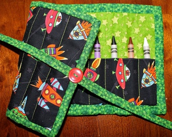 Rocket Crayon Roll Up, Crayon Holder, Crayon Tote, Crayon Roll, Boy, Green, Black, Art Supplies, Quilted crayon holder, Handmade, Rockets