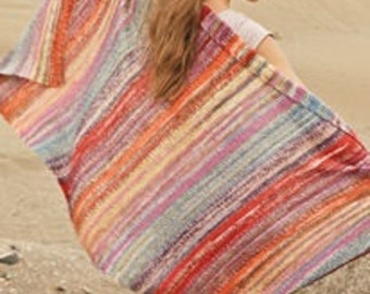 Knitted handmade multicolor wool blanket / throw / beach throw in stripes