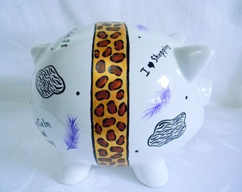 Leopard piggy bank,Piggy bank, personalized piggy bank, love to shop,adult piggy bank, large piggy bank, painted piggy bank,ceramic bank