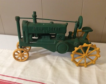 PRICE MARKED DOWN!**Vintage Cast Iron John Deere Toy Tractor~Green John Deere Toy Tractor~Antique Toy Tractor