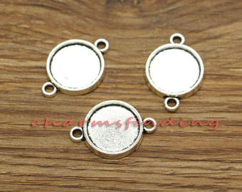 20pcs Round Pendant Trays Connector Charms Bezel Settings Antique Silver Tone 17x24mm holds 13x13mm approx cabochon cf3239