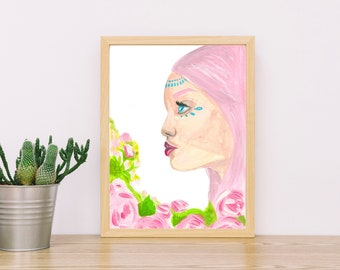 MARIA-woman print-pretty art-pink-picture-illustration-decoration-interiors-painting-girly-hippy-bohemian-pastels-chic-vintage-beautiful