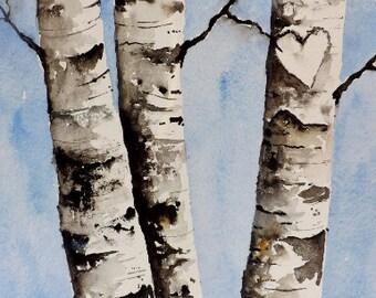 Custom Initial Birch Tree Painting, Birch Tree Art.