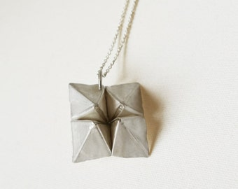 FOLDh/h - Origami-Pendant from 999 Fine Silver, Cootie-catcher