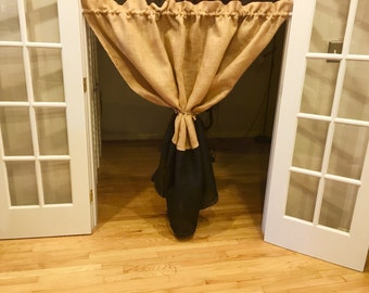 Beatiful Burlap Curtain Panel, Natural and Black Burlap Combo + Unique Handmade Tie, Burlap Curtain
