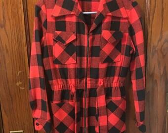 1960s red black plaid jacket small