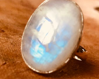 Moonstone Ring Rainbow Moonstone Ring 27 mm large Oval Moonstone Ring 925 Sterling Silver Classic Bezel Statement Moonstone Ring Size 10.75