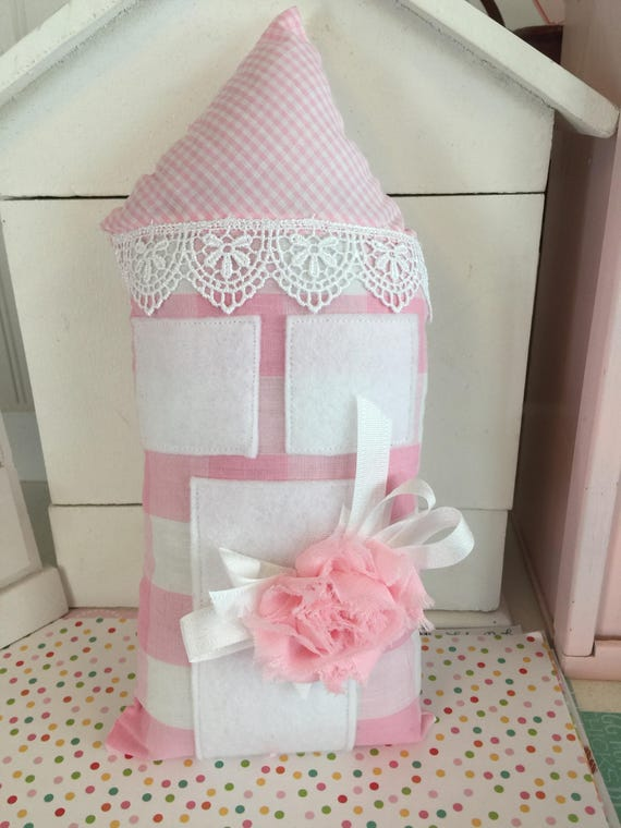 "Pink Gingham Check House Pillow - 4"" x 10"""