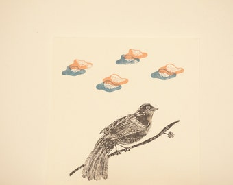 Bird and clouds hand linogravee poster