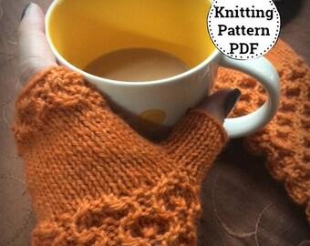 Knitting Pattern | Knitted Fingerless Gloves Mittens Pattern| Wrist Hand Warmers |  Fingerless Mitts Pattern