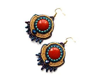 Red Jasper Earrings Bead embroidered earrings Jasper beaded earrings Large earrings Earthy earrings Antiqued look earrings Gift idea for her