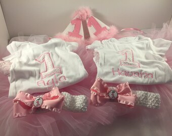 Twin Girls 1st Birthday Outfit, 1st Birthday Outfit, Girls 1st Birthday, Cake Smash Outfit, Twin Girls Birthday, Birthday Bodysuit