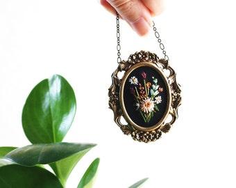 Peach dahlia- hand embroidered necklace, floral, bouquet, black, aqua, purple