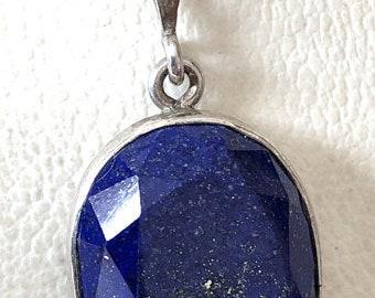 Rarity lapis lazuli pendant faceted in 925 silver version