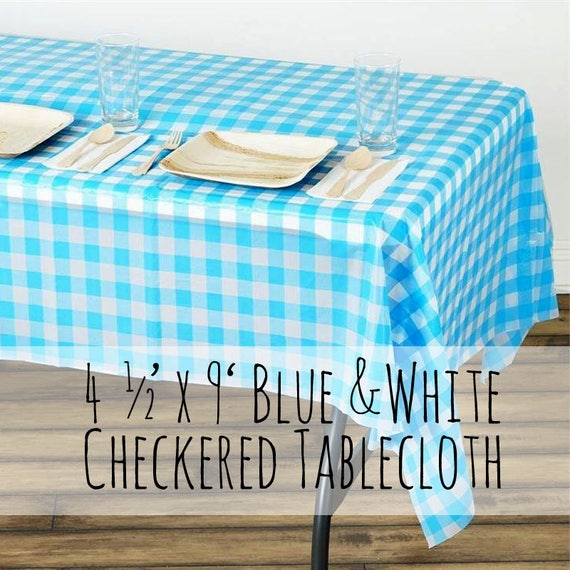 Large Plastic Light Blue and White Checkered Tablecloth Sky