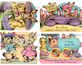 Vintage 1930s Easter Bunny and Chick Greeting Card Digital Download 336 - by Vintage Bella