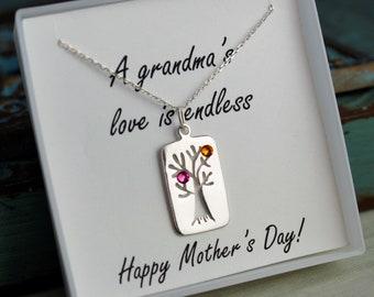 Gifit for Grandma - Mother's Day Necklace for Grandma - Sterling Silver Kids Birhtstone neckalce - Grandma Necklace