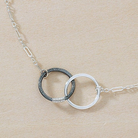 Linked Circles Friends Symbol Necklace Oxidized Silver