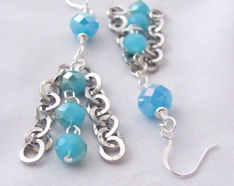Light Blue Earrings Sky Blue Round Silver Chain Dangle Earrings