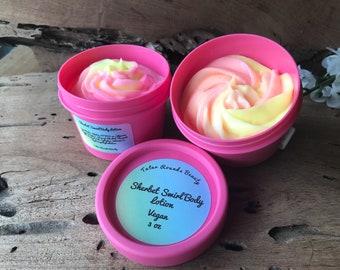 Sherbet Swirl Body Lotion - Creamy Moisturizing Body Lotion - Vegan Fruity Scent 3 Ounce