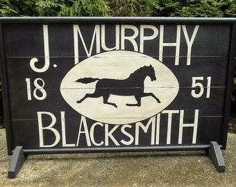 "27"" x 16"", J. Murphy,  Blacksmith,  Trade Sign,  Wood,  Horse,  Sign,  Folk Art, Hand Painted, Primitive"