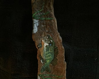 BLUEGILL HAND PAINTED on driftwood