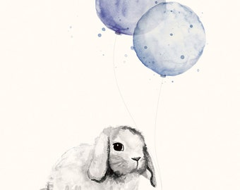 Baby Boy Nursery Art Print - 8x10 / A4 Print of Bunny Rabbit and Balloons Watercolor Illustration, Baby Boy Room Decor, Baby Nursery Art