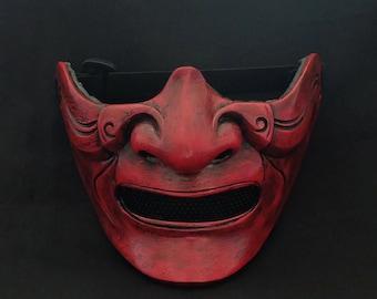 Half cover  Knight Samurai Mask, Airsoft mask, Halloween Costume Cosplay mask, Evil Oni Hannya Kabuki mask, Steampunk wall mask MA212 et