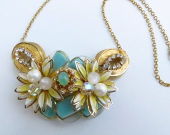 Lazy Daisy re-purposed jewelry necklace buttons aqua gold rhinestones