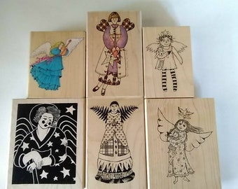 Mounted Rubberstamp Collection of 9 Angelic Images