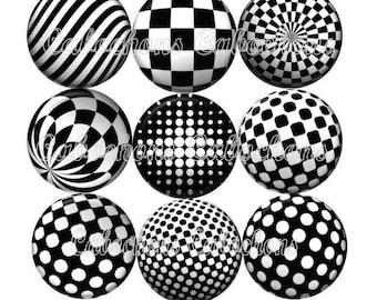 Set of 9 16mm glass cabochons, Trompe L'Oeil, black-and-white ref ZC112