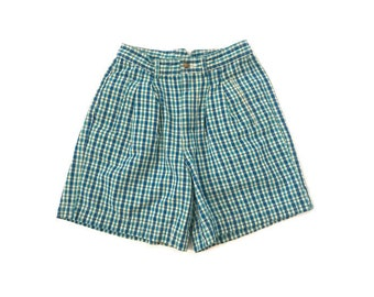 Vintage Womans Plaid High Waist Shorts