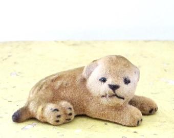 Vintage Kunstlerschutz Lion Cub Flocked Animal Wagner West Germany Rare Baby Lion