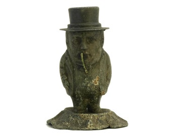 French Antique Bar Counter Top Petrol Lighter. Cigarette and Cigare Caricature Lighter. Grotesque Man in Top Hat Figure. Collectible Barware