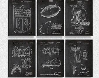 Football Patents Set of 6 Prints, Football Prints, Football Posters, Football Blueprints, Football Art, Football Wall Art, Sport Prints