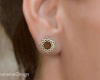 Brass lotus ear tunnel. Tribal Mandala Ear Tunnel. 10mm Ear Tunnel