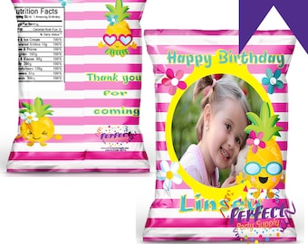 Tropical Chip/Snack/Treat Bag with Photo