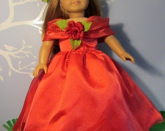 "18"" Doll Clothes fit American Girl Vintage Style Shimmery Red MAY QUEEN Gown Set"