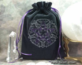Celtic Knotwork Purple Metallic Pentagram Embroidered Cotton Velvet, Drawstring Tarot Pouch, Tarot Bag, Rune Bag, Crystal Bag, Jewelry Pouch