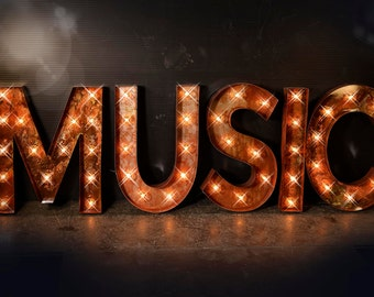 Music Marquee Sign, Music Lighted Metal MARQUEE SIGN, Carnival Marquee Letter, Music Marquee: Vintage Style Marquee Music Sign in Block Font